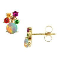 London Road 9Ct Yellow Gold Diamond And Gemstones Bloomsbury Harlequin Stud Earrings Multi