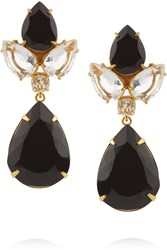 Bounkit Gold Tone Quartz And Onyx Earrings Metallic