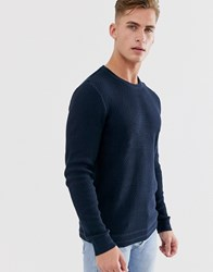 Selected Homme Knitted Jumper In Textured Organic Cotton Navy
