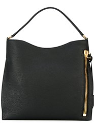 Tom Ford Alix Large Hobo Shoulder Bag Women Cotton Calf Leather Polyester One Size Black