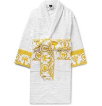 Versace Satin Trimmed Logo Jacquard Cotton Terry Robe White