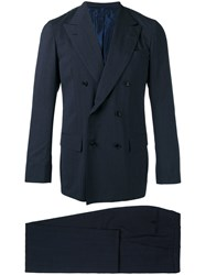 Kiton Double Breasted Two Piece Suit Blue