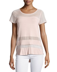 Neiman Marcus Sheer Panel Short Sleeve Blouse Rose Quartz