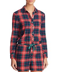 Jane And Bleecker New York Flannel Romper Holiday Ski Plaid