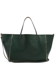 Valentino Rockstud Reversible Grained Leather Tote Tan Multi