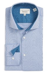 Ted Baker Men's Big And Tall London Saul Trim Fit Graphic Dress Shirt Blue