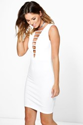 Boohoo Strappy Front Bodycon Dress Cream