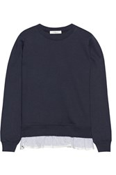 Clu Ruffle Trimmed French Cotton Terry Sweatshirt Navy