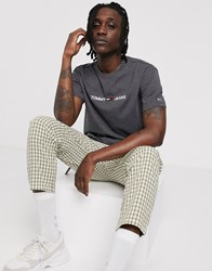 Tommy Jeans T Shirt In Grey With Small Chest Logo