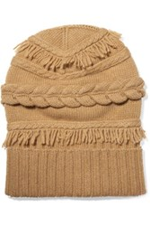Agnona Fringed Cable Knit Wool And Cashmere Blend Beanie Tan