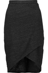 Splendid Wrap Effect Stretch Jersey Skirt Charcoal