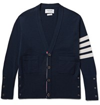 Thom Browne Slim Fit Striped Cashmere Cardigan Navy
