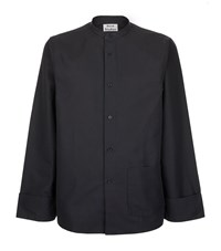 Acne Studios High Collar Button Front Shirt Male Navy