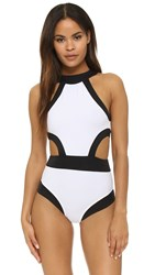 Oye Swimwear Holly High Neck Cutout One Piece White Black