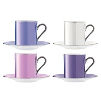 Lsa International Polka Assorted Coffee Cups And Saucers Set Of 4 Pastel