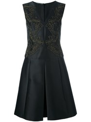 Alberta Ferretti Pleated Flared Dress Black