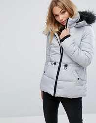 Oasis Faux Fur Collar Padded Jacket Silver