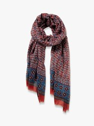 Fat Face Indian Patchwork Scarf Purple