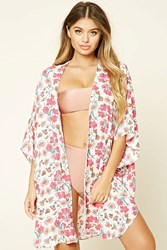 Forever 21 Floral Print Kimono Cover Up Blush Multi