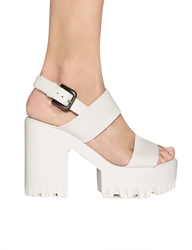 Pixie Market White Chunky Heeled Sandals