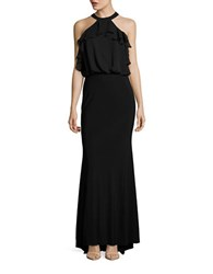 Betsy And Adam Ruffled Halter Gown Black