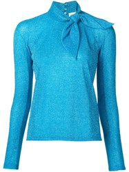 Delpozo Metallic Tie Collar Blouse Blue