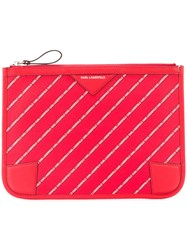 Karl Lagerfeld Striped Logo Pouch Red