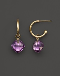 Bloomingdale's Amethyst Small Hoop Earrings In 14K Yellow Gold Purple