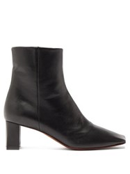 Vetements Boomerang Square Toe Leather Ankle Boots Black
