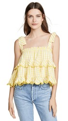 Innika Choo Frill Scallop Top Lemon Gingham