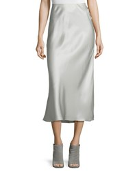 Calvin Klein Satin Midi Skirt Light Gray