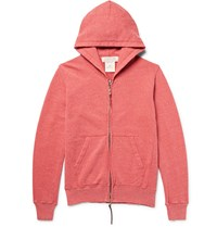 Remi Relief Loopback Nep Cotton And Silk Blend Jersey Zip Up Hoodie Brick