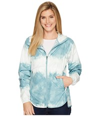 The North Face Flyweight Hoodie Trellis Green Borealis Tonal Print Women's Sweatshirt Blue