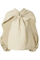 Rosie Assoulin Balloon Back Knotted Cape Effect Hemp Top Beige