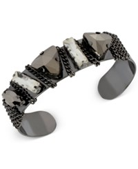 Inc International Concepts Crystal Chain Cuff Bracelet Only At Macy's Gray