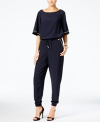 Armani Exchange Tapered Drawstring Jumpsuit Blue