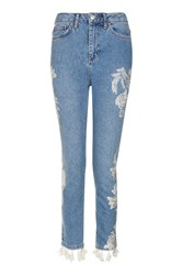 Topshop Moto Embroidered Straight Leg Jeans Mid Stone