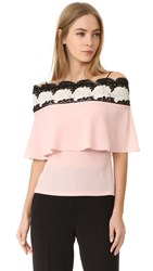 Yigal Azrouel Bare Shoulder Lace Top Blush Pink