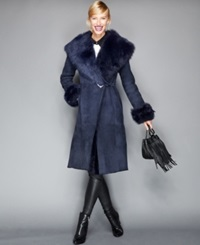 The Fur Vault Toscana Shearling Hooded Wrap Coat Marine