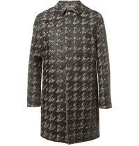 Valentino Bonded Houndstooth Check Wool Rain Coat