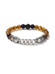 Topman Black Silver Look And Brown Beaded Skull Bracelet