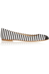 Giuseppe Zanotti Striped Canvas Ballet Flats Black