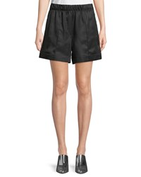 Helmut Lang Silky Wide Leg Pleated Pull On Shorts Black