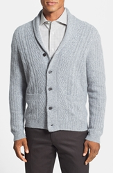 John W. Nordstrom Cable Knit Shawl Collar Cashmere Cardigan Mid Grey Nep