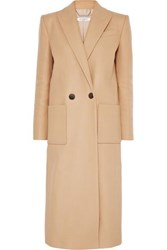 Givenchy Double Breasted Wool Felt Coat Camel