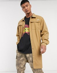 Liquor N Poker Longline Worker Jacket With Pockets In Stone
