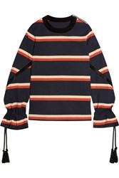 Sacai Rope Detailed Striped Cotton Jersey Sweatshirt Navy