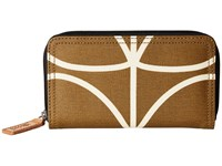Orla Kiely Matt Laminated Giant Linear Stem Print Big Zip Wallet Camel Handbags Tan