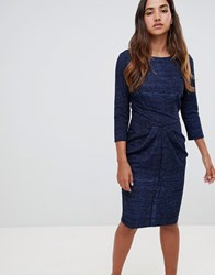 Closet London Draped Skirt Bodycon Dress Navy