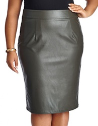 Modamix Plus Faux Leather Pencil Skirt Burnt Olive